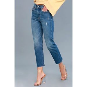 Levi's Wedgie Fit Medium Wash Straight Leg Jeans